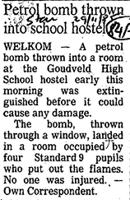 Petro bomb thrown into school hostel