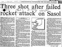 Three shot after failed rocket attack on Sasol