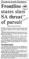 Frontline states slam SA threat of pursuit
