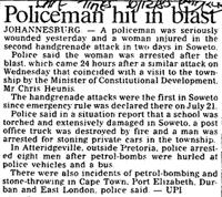 Policeman hit in blast