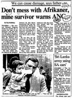 Don't mess with Afrikaner, mine survivor warns ANC