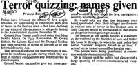 Terror quizzing: names given