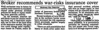 Broker recommends war-risks insurance cover