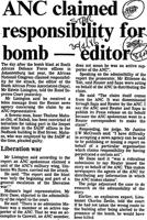 ANC claimed responsibility for bomb - editor