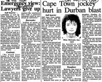 Cape Town jockey hurt in Durban blast