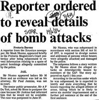 Reporter odered to reveal details of bomb atacks