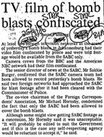 TV film of bomb blasts confiscated