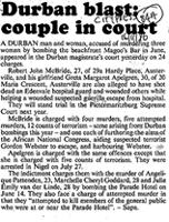 Durban blast: couple in court