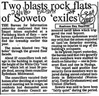 Two blasts rock flats of Soweto 'exiles'