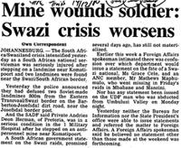 Mine wounds soldier: Swazi crisis worsens