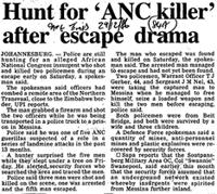Hunt for 'ANC killer' after escape drama