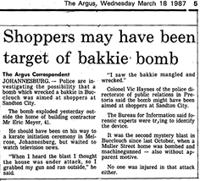 Shoppers may have been target of bakkie bomb