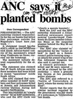 ANC says it planted bombs