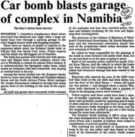 Car bomb blasts garae of complex in namibia