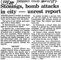 Stonings, bomb attacks in city-unrest report