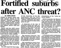 Fortified suburbs after ANC threat?