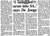 'I smuggled arms into SA,' says De Jonge