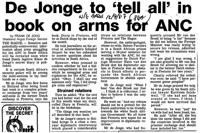 De Jonge to 'tell all' in book on arms for ANC
