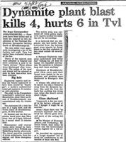Dynamite plant blast kills 4, hurts 6 in Tvl