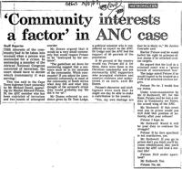 'Community interests a factor' in ANC case