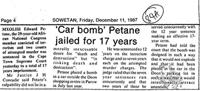 'Car bomb' Petane jailed for 17 years