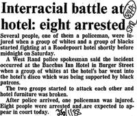 Interacial battle at hotel: eight arrested