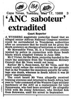 'ANC saboteur' extradited