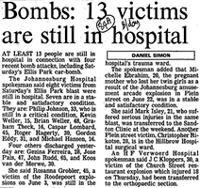 Bombs: 13 victims are still in hospital