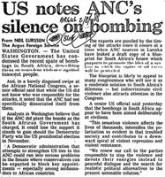US notes ANC's silence on bombing