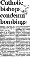 Catholic bishops condemn bombings