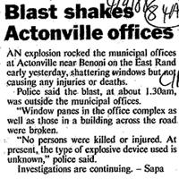 Blast shakes Actonville offices