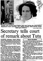 Secretary tells court of remark about Tutu
