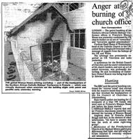 Anger at burning of church office