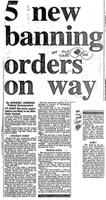 5 new banning orders on way