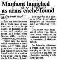 Manhunt launched as arms cache found