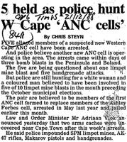 5 held as police hunt W Cape 'ANC cells'