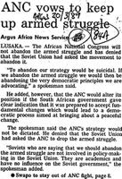 ANC vows to keep up armed struggle