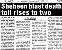 Shebeen blast death toll rises to two