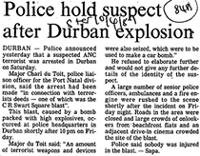 Police hold suspect after Durban explosion