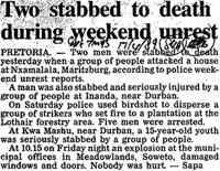 Two stabbed to death during weekend unrest