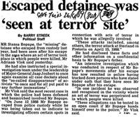 Escaped detainee was 'seen at terror site'