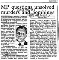 MP questions unsolved murders and bombings