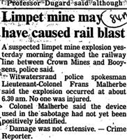Limpet mine may have caused rail blast