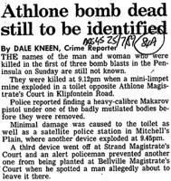 Athlone bomb dead still to be identified
