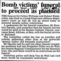 Bomb victims' funeral to proceed as planned