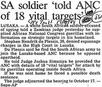 SA soldier 'told ANC of 18 vital targets'