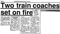 Two train coaches set on fire