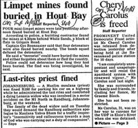 Limpet mines found buried in Hout Bay