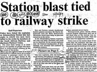 Station blast tied to railway strike