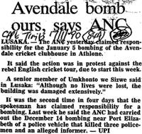 Avendale bomb ours, says ANC